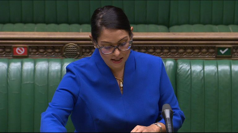Priti Patel talking in the House of Commons