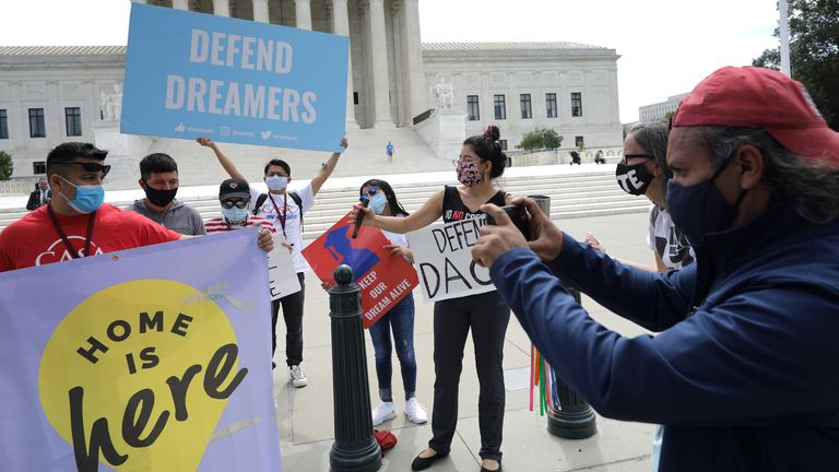 Advocates for immigrants in the DACA scheme rally in front of the US Supreme Court ahead of the decision