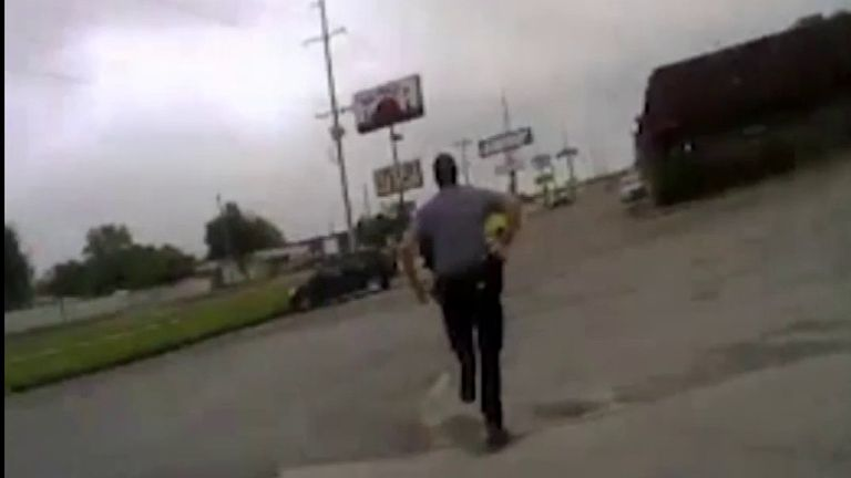 Derrick Scott was chased down by police officers after he ran away from them trying to arrest him