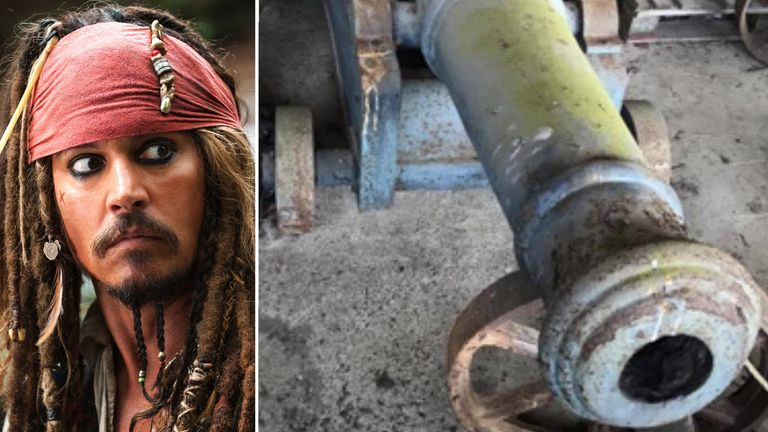 The cannons were used in the Pirates Of The Caribbean film series. Pics: REX/Shutterstock / Devon and Cornwall Police