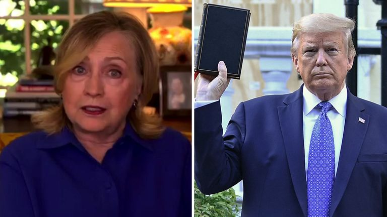 Hillary Clinton told Sky News that Donald Trump had 'hijacked' Christianity and the Bible