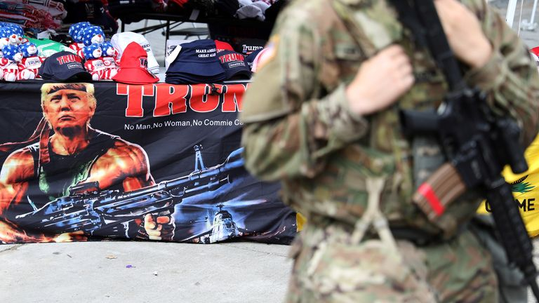 A member of the Oklahoma National Guard pictured outside the rally venue