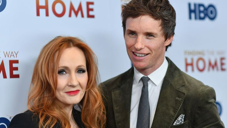"English author JK Rowling (L) and English actor Eddie Redmayne attend HBO's ""Finding The Way Home"" world premiere at Hudson Yards on December 11, 2019 in New York City"