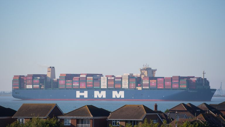 HMM Algeciras, the world's largest container ship, passes Canvey Island in Essex as it arrives in the UK for the first time