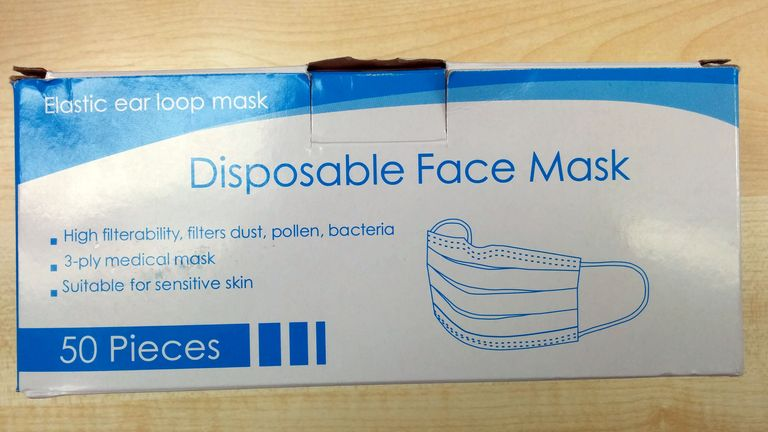Undated handout photo issued by London Trading Standards of the box for sub-standard face masks.