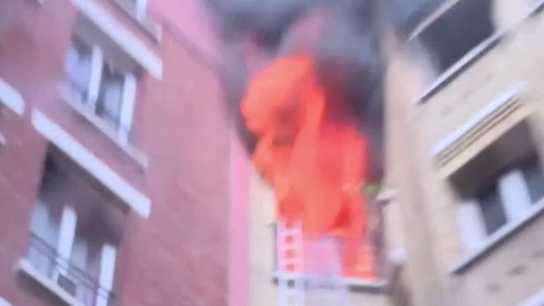 Fire tears through Paris apartment block