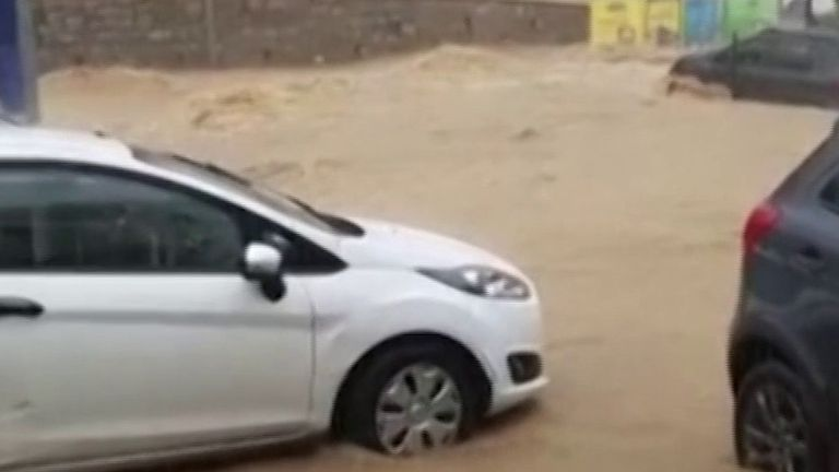 Corsica car park hit by flash flooding