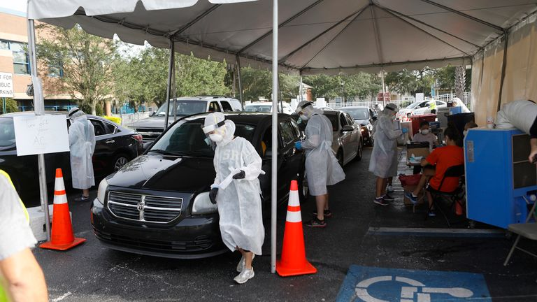 Drive-through testing area in Florida where cases have surged