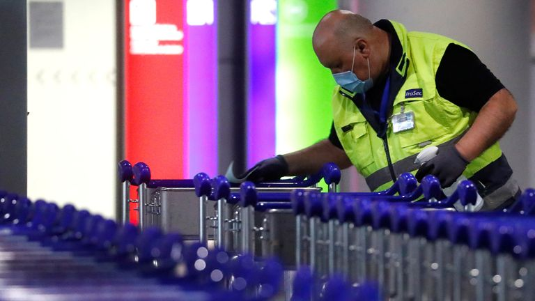 Trolleys being cleaned at Frankfurt airport