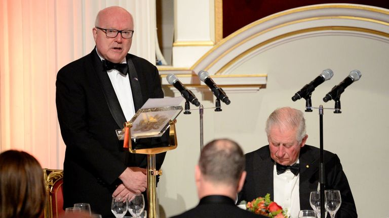 Australian High Commissioner George Brandis, here at a dinner with Prince Charles in March, said the UK and Australia can be allies in democracy