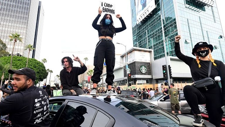 Protesters in LA closed off Sunset Boulevard and Vine