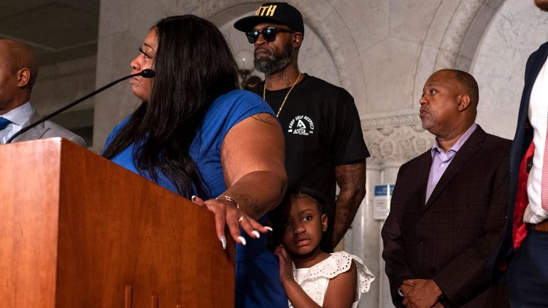 MINNEAPOLIS, MN - JUNE 2: Roxie Washington, the mother of George Floyd's daughter Gianna Floyd, speaks at a press conference on June 2, 2020 in Minneapolis, Minnesota. Washington was joined by her daughter and Floyd's friend, former NBA Player Stephen Jackson, speaking about the impact of his death on their family. (Photo by Stephen Maturen/Getty Images)