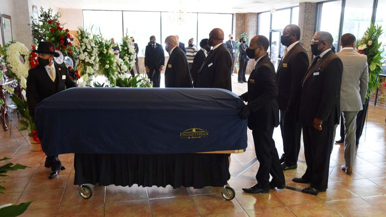 George Floyd's coffin arrives for a memorial held in his home town