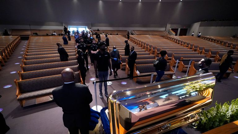 Mourners viewed Mr Floyd at a church in Houston on Monday