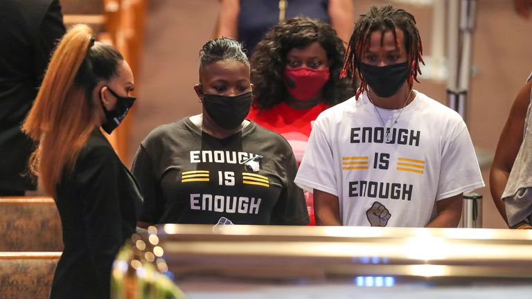 Mourners view George Floyd's body in Texas