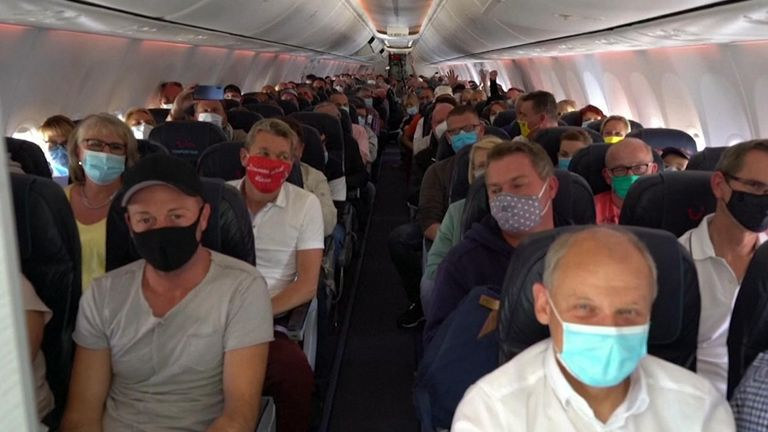 German tourists arriving to Mallorca as part of trial air bridge