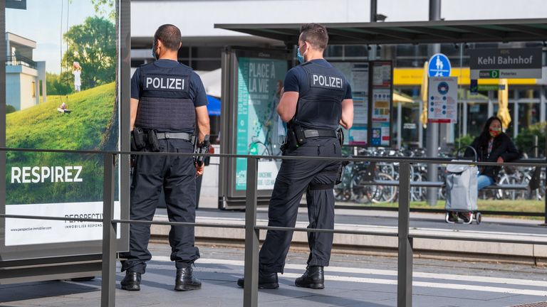 German police officers at a tram station in Kehl last week when the border with France reopened