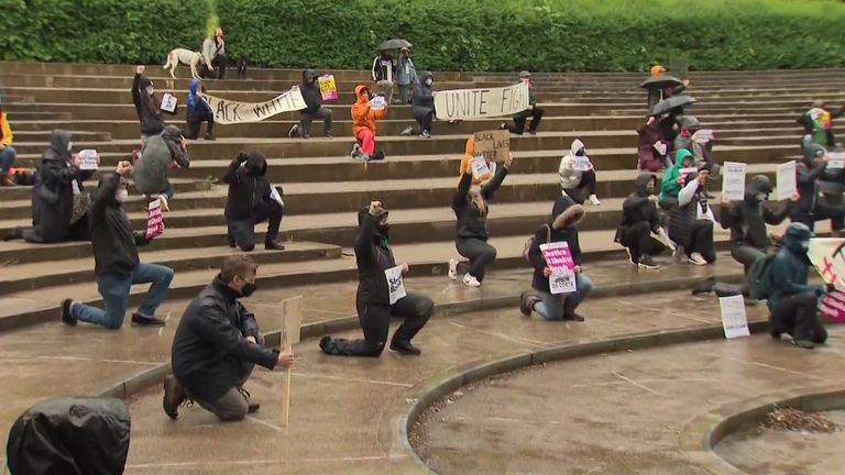 People in Glasgow kneeled in Queen's Park in honour of George Floyd