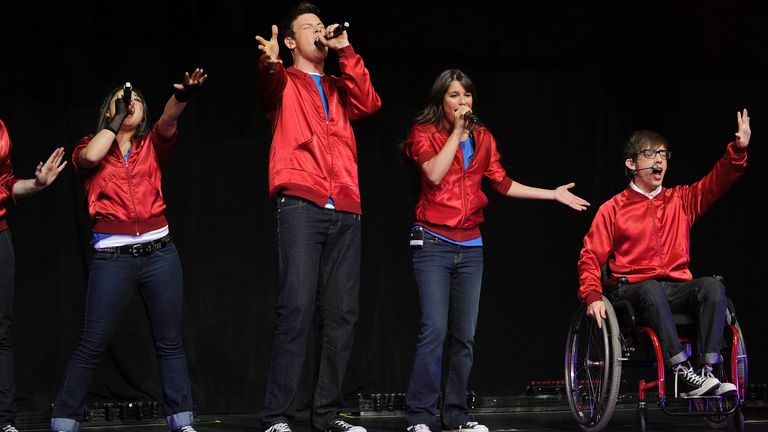 Former Glee stars Jenna Ushkowitz, Cory Monteith, Lea Michele and Kevin McHale performing in 2010
