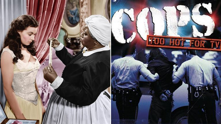 Vivien Leigh and Hattie McDaniel in Gone With The Wind, and Cops. Pics:  Selznick/Mgm/Kobal/Shutterstock/IMDB