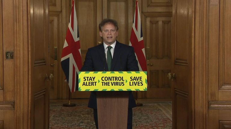Grant Shapps speaking at the daily coronavirus briefing