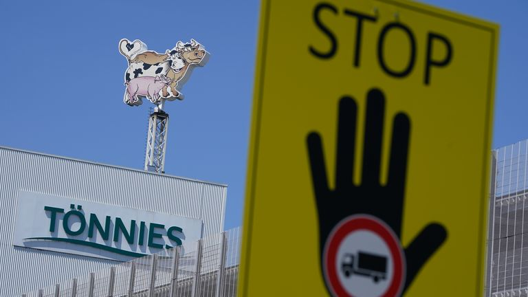 The Toennies meat packaging plant stands temporarily closed following a Covid-19 outbreak among workers there during the coronavirus pandemic in the town of Rheda-Wiedenbrueck on June 23, 2020 near Guetersloh, Germany