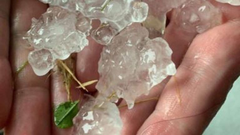 Hail in Gleadless, Sheffield. Pic: Paul Hopwood