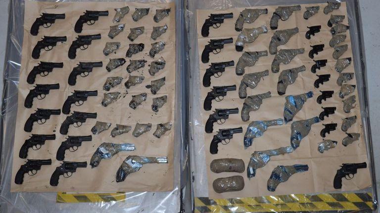 A total of 95 hand guns were recovered in the operation. Pic: NCA