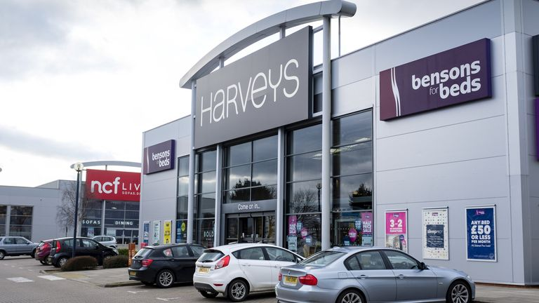 Exterior of a Harveys furniture store on a retail park. Harveys Furniture is a British retailer specialising in living room and dining room furniture.