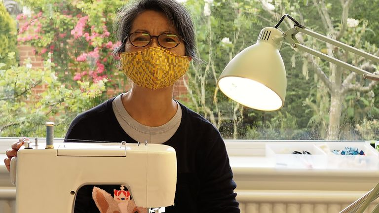 People have taken to sewing their own masks. Pic: Peter Crush