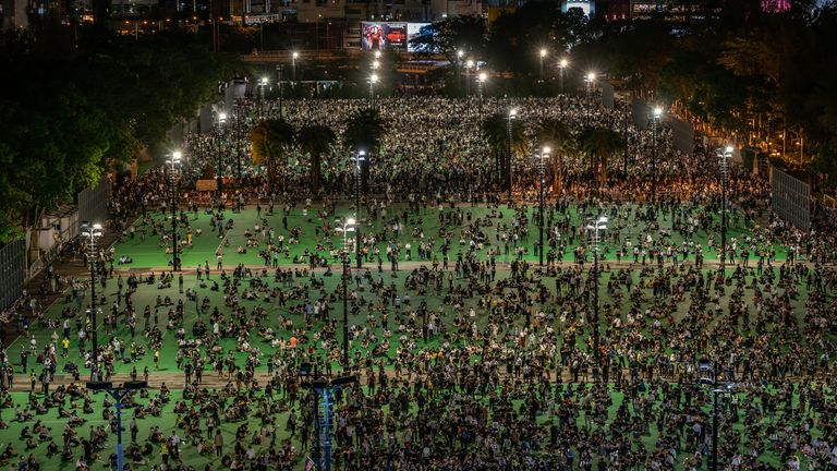 Thousands of participants gathered in Victoria Park, Hong Kong