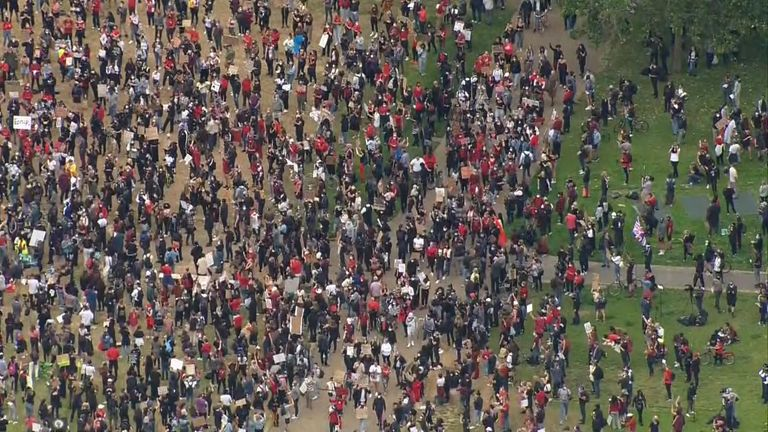 Hundreds of people have descended on Hyde Park as worldwide outrage continues to grow over the death of George Floyd in Minneapolis last week.