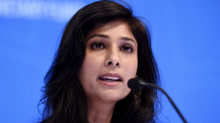 Gita Gopinath, IMF Chief Economist and Director of the Research Department, speaks at a briefing during the IMF and World Bank Fall Meetings on October 15, 2019 in Washington, DC. -