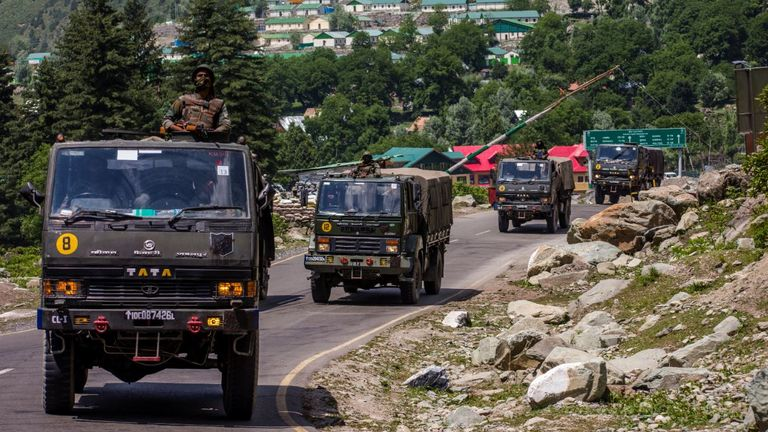 Indian army convoy close to border with China