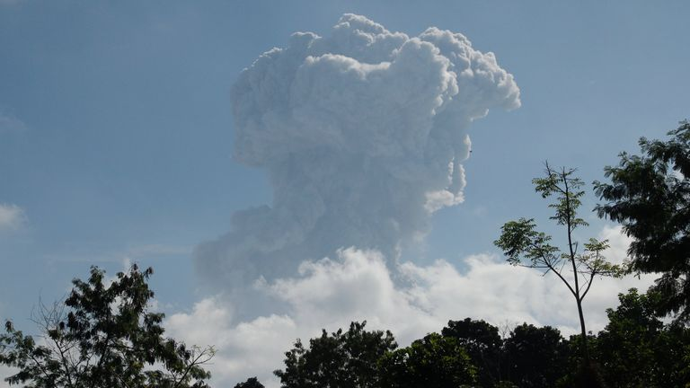The column of ash and hot gas shot miles into the air, blanketing villages around Mount Merapi