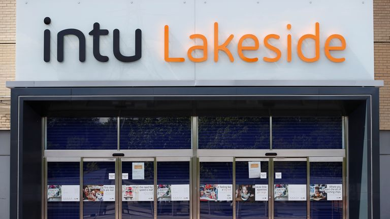 A entrance to Intu Lakeside in Thurrock