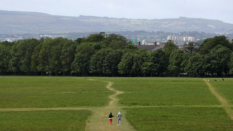 People walk their dogs in Dublin's Phoenix park