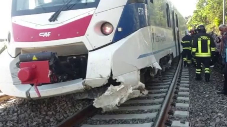 Landslide causes train to derail in Italy