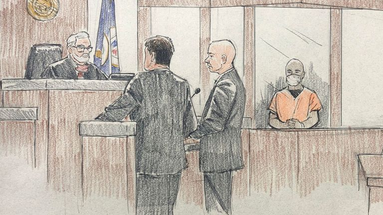 An artist's impression of J. Alexander Kueng during his court hearing in Minneapolis