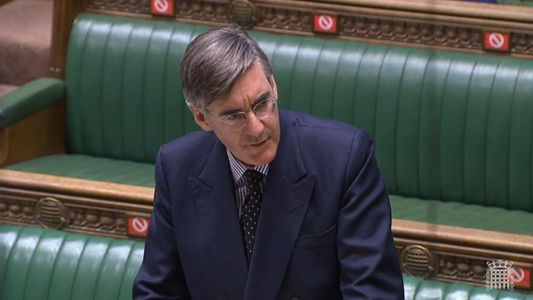 Jacob Rees Mogg answering questions in the House of Commons