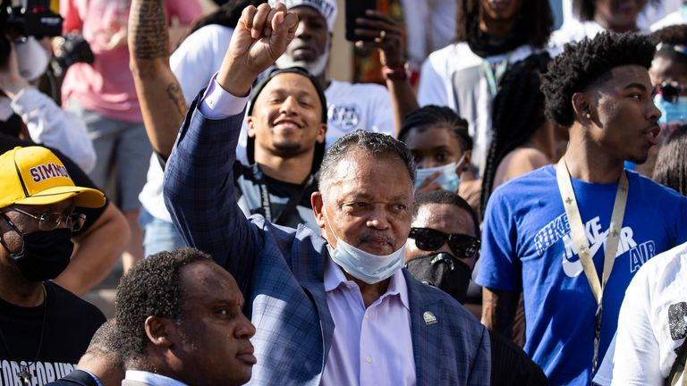 Rev. Jesse Jackson delivers remarks during a vigil for Breonna Taylor on June 6, 2020 in Louisville, United States
