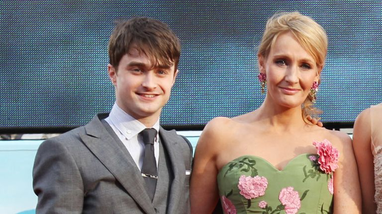 Daniel Radcliffe and J.K Rowling at the world premiere of Harry Potter and the Deathly Hallows Part 2 in London in July 2011