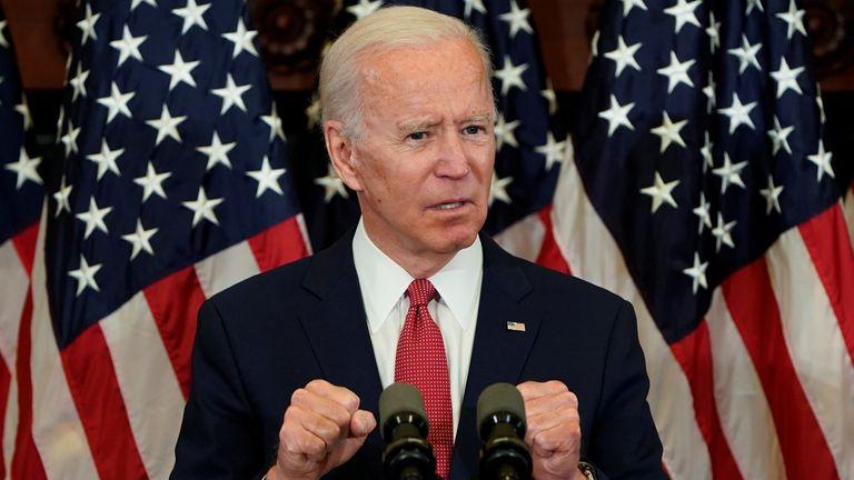 Democratic U.S. presidential candidate Joe Biden speaks during an event in Philadelphia, Pennsylvania, U.S. June 2, 2020. REUTERS/Joshua Roberts