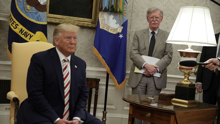 President Trump and John Bolton in the Oval Office in August 2019