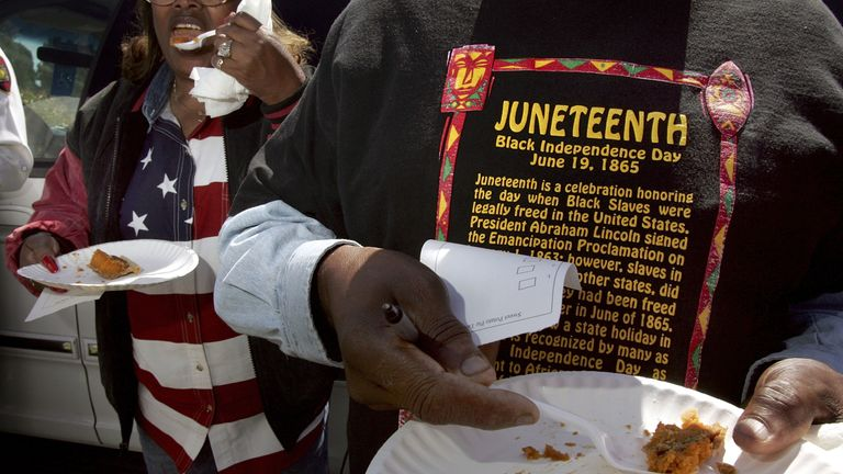 People attend a Juneteenth celebrations in Richmond California, in 2004