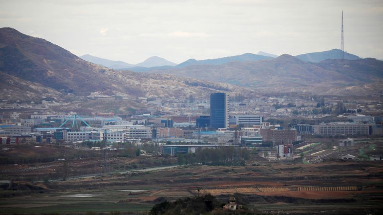 The inter-Korean Kaesong Industrial Complex which is still shut down, is seen in this picture taken from the Dora observatory near the demilitarised zone separating the two Koreas, in Paju, South Korea, April 24, 2018. REUTERS/Kim Hong-Ji