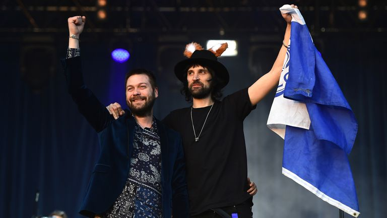Kasabian during the Leicester City Barclays Premier League winners bus parade on May 16, 2016 in Leicester, England