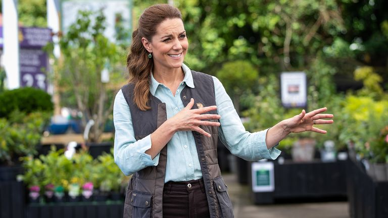 EMBARGOED to 1300 BST Friday June 19, 2020. The Duchess of Cambridge talks to Martin and Jennie Turner, owners of the Fakenham Garden Centre in Norfolk, during her first public engagement since lockdown.