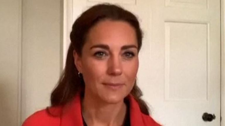 Kate Middleton talks to staff at Clouds House in her role as patron of Action on Addiction