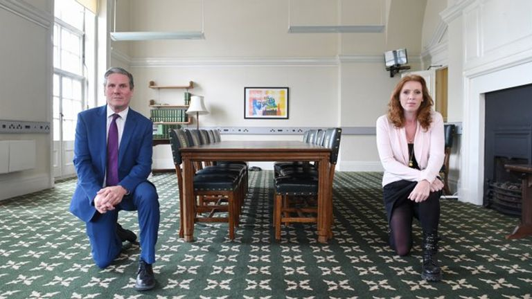 Sir Keir Starmer and Angela Rayner took a knee in support of the Black Lives Matter protests